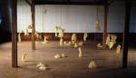 Burning Down the Fresco Barn with Lemon Scented Trash Bags, 1988; Plastic, kerosene, matches fire extinguisher