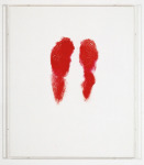 Red Not Blue - Buttocks, 1992; Lipstick on canvas