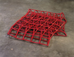 Square Transformation, Collapsed - Open Cube, 1996; Red rubber, Private Collection