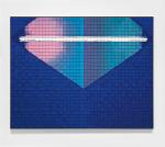 Corner Convergence Firing Blue Pink and Green, 2010; Pressed eyeshadow, aluminum, glass