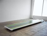 Cryo-Field (frozen watercolor), 2001; Water, pigment, refrigeration panel