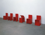 Anagram, 1995; Donald Judd chairs, lipstick, wood, rubber, Private Collection