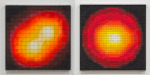 Red Giant & Quantum Dot with Two Electrons, 2013; Eyeshadow, pigment, plexiglass