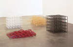 Square Transformation, 1996; 1: Flexible - Open Cube (White Rubber); 2: Collapsed - Open Cube (Red Rubber); 3: Rigid - Open Cube (Metal Lipstick); 4: Square Transformation (Wood Rectangles)