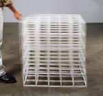 Square Transformation, Flexible - Open Cube (White Rubber) 1996; Rubber