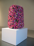 Truncated (Pink), 2006; Compression cast cosmetic pigment, welded tinplate, steel